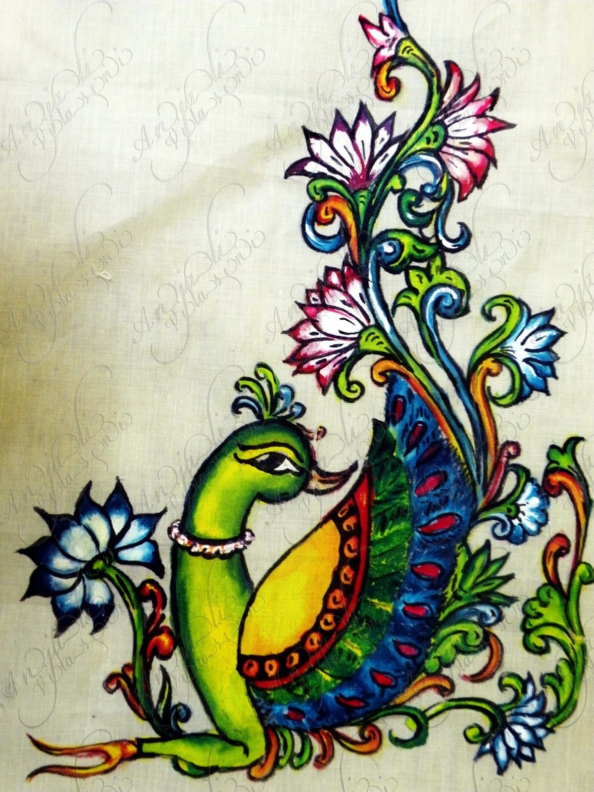 Anjali vilasini peacock design for Mural painting designs