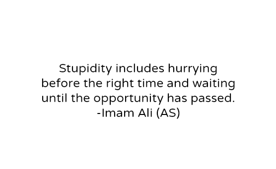Stupidly includes hurrying before the right time and waiting until the opportunity has passed.