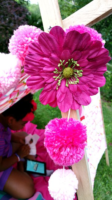 diy tent girls tent ideas flowers yarn pompom garland & Cupcake Wishes u0026 Birthday Dreams: Backyard Camping and Glamping Ideas