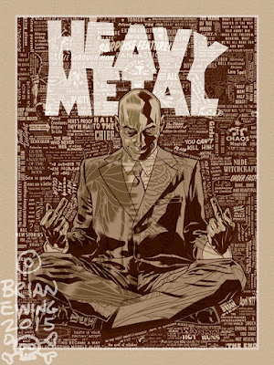 "San Diego Comic-Con 2015 Exclusive Grant Morrison x Heavy Metal x Brian Ewing ""Hail to the Chief"" Variant Screen Print"