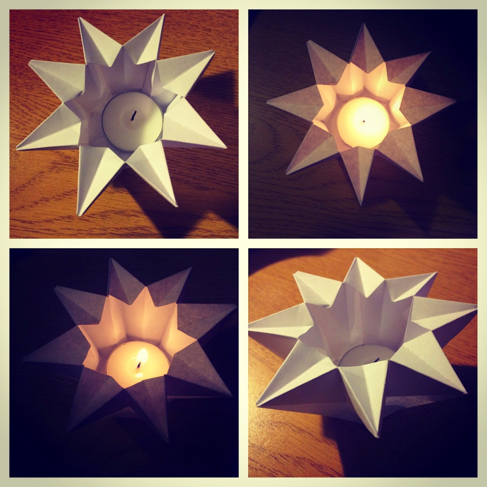 Origami Star Lantern (Pack of 4 Tea Light Candle Holders)Marqué