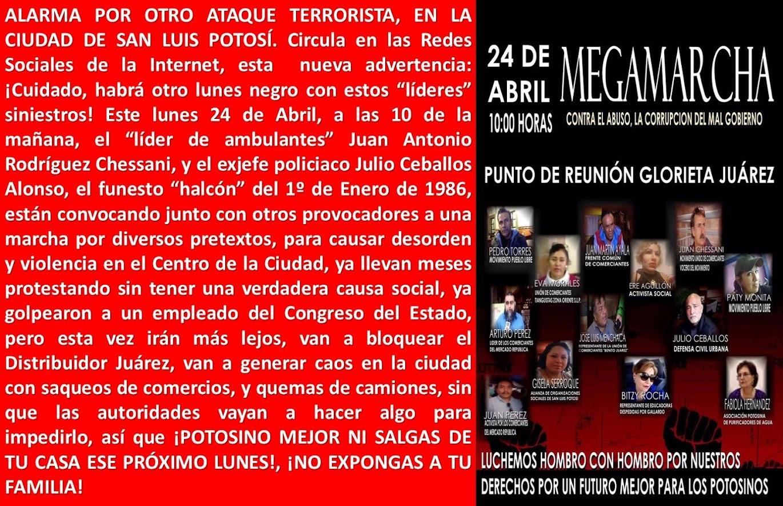 LOS TERRORISTAS DEL COMERCIO AMBULANTE, ANUNCIAN LA VIOLENCIA.