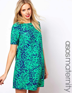 Animal Print, ASOS, ASOS Maternity, Bright, Dress, Green, Mini Dress, Navy Blue, Print, Rochelle Humes, Shift Dress, Short Sleeve, Sweat The Small Stuff, The Saturdays