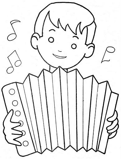 Niño tocando el acordeón para colorear