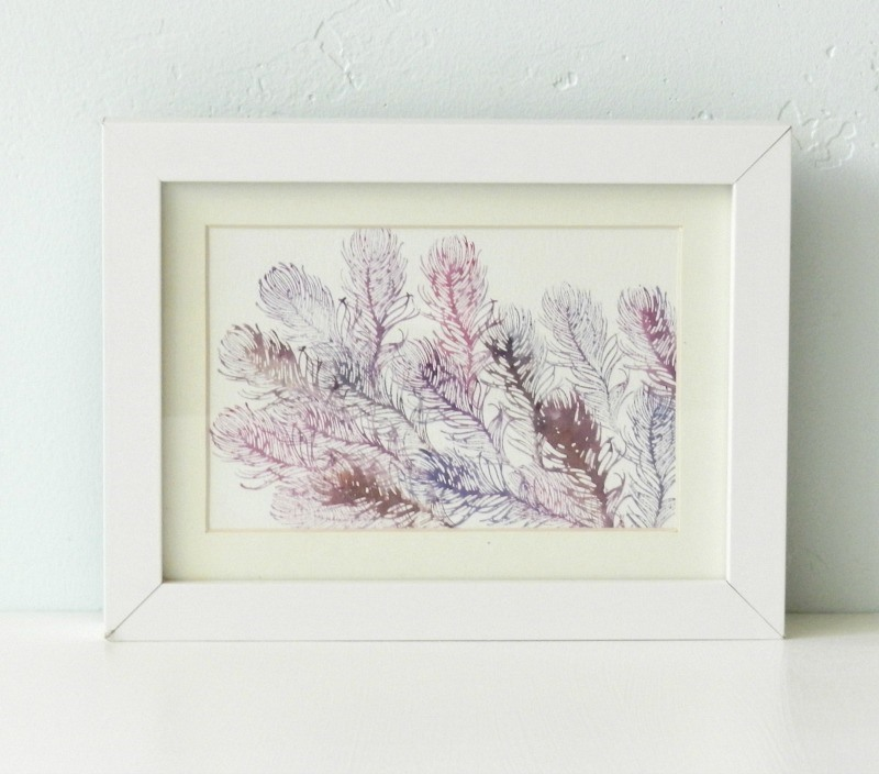 Original Watercolor Purple Feathers Painting by Elise Engh