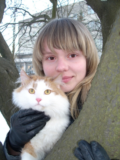 Beautiful Cat and Beautiful Girl