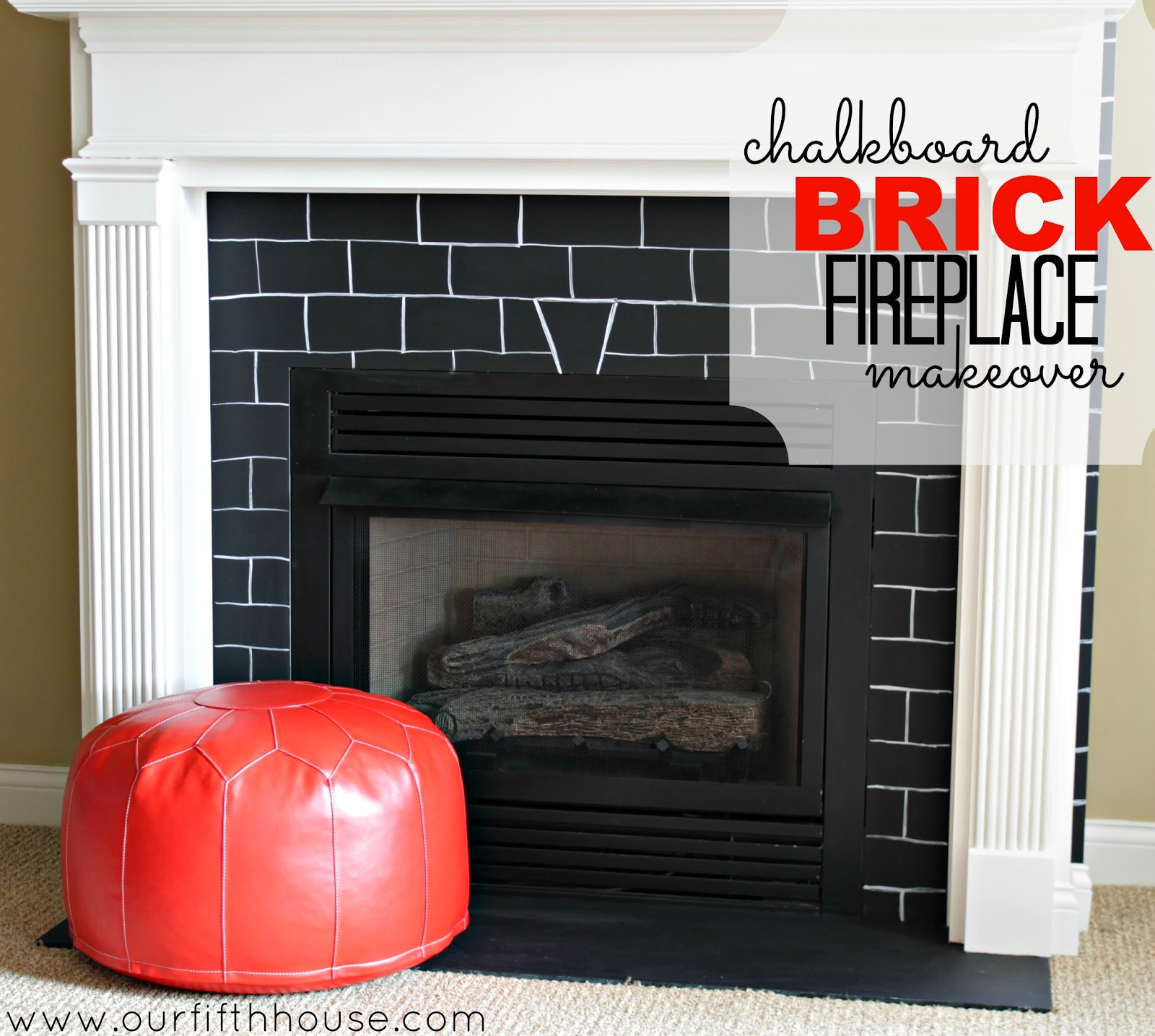 Chalkboard Makeover Fireplace Bricks