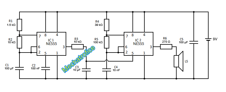 Wailing Siren Circuit Diagram Using 555 Ic
