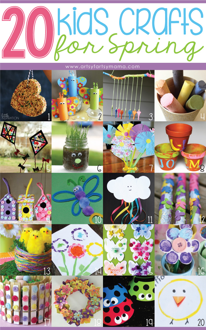 20 Kids Crafts for Spring at artsyfartsymama.com #spring #kidscrafts #homeschool