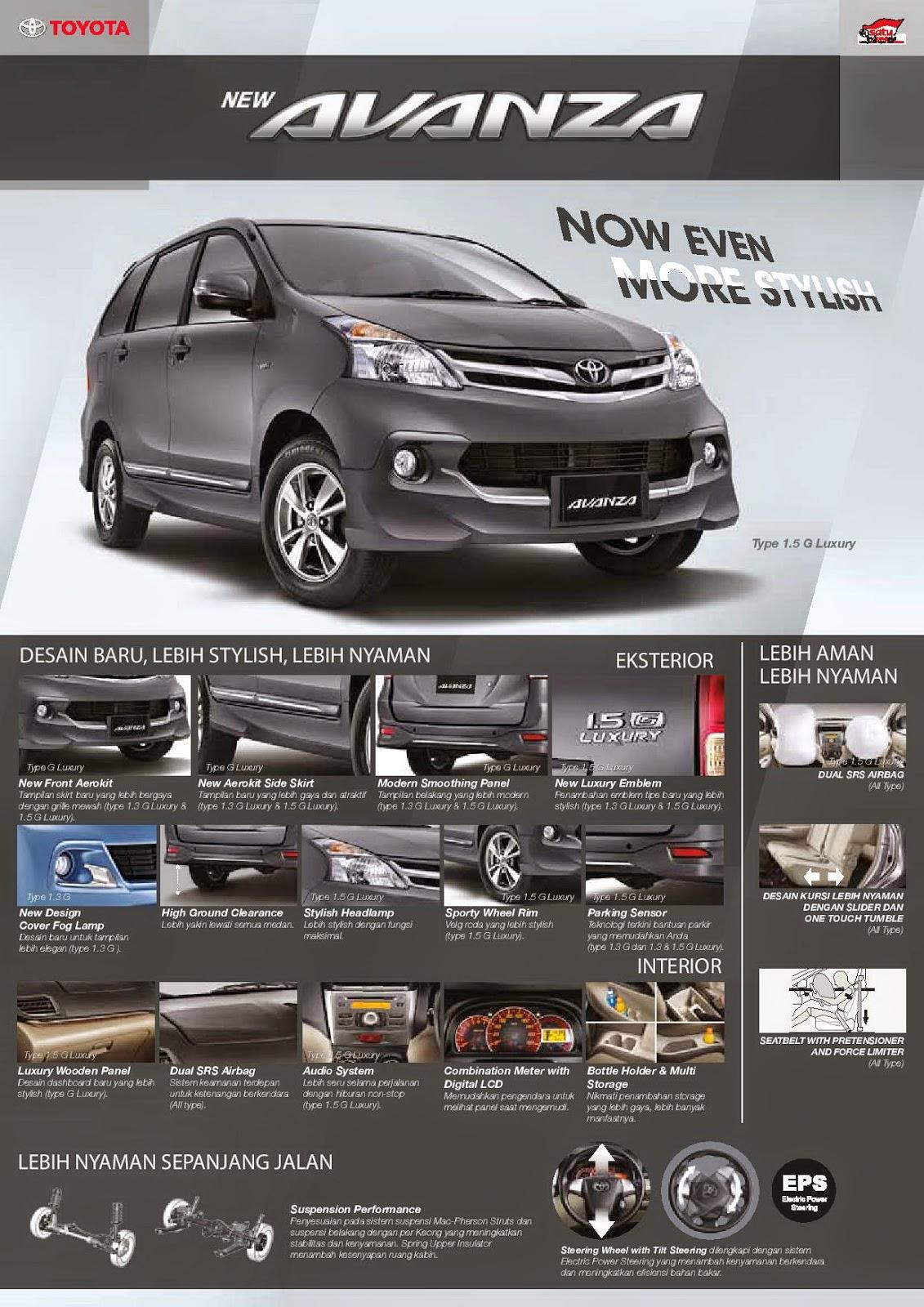 Brosur Mobil Toyota New Avanza E, G, Veloz, Luxury 2015