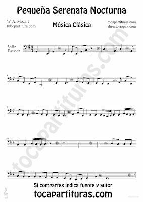 Tubepartitura Pequeña serenata nocturna de Mozart para Fagot y Violonchelo Música Clásica