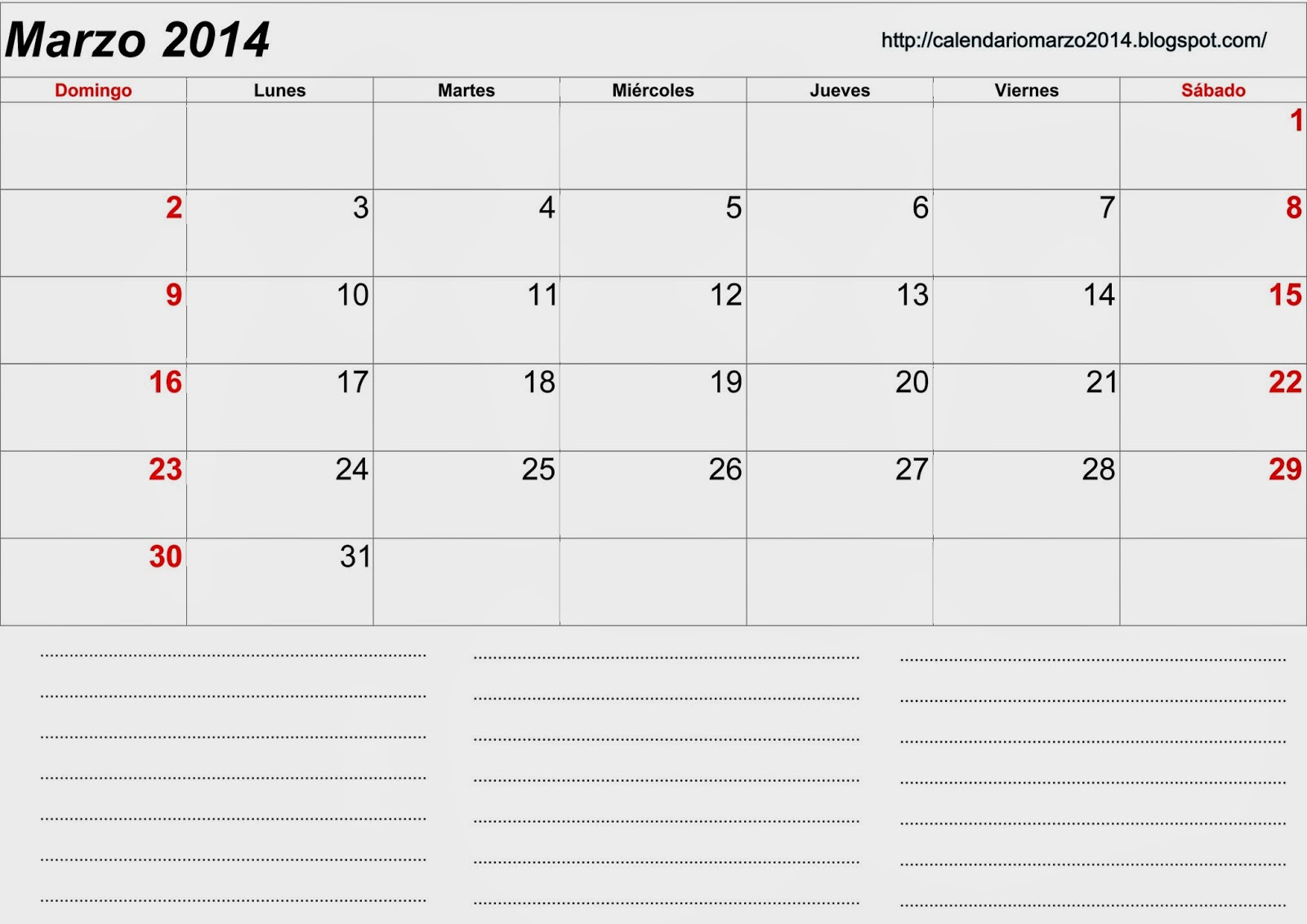 calendario mes de marzo 2014 calendario mes de marzo 2014