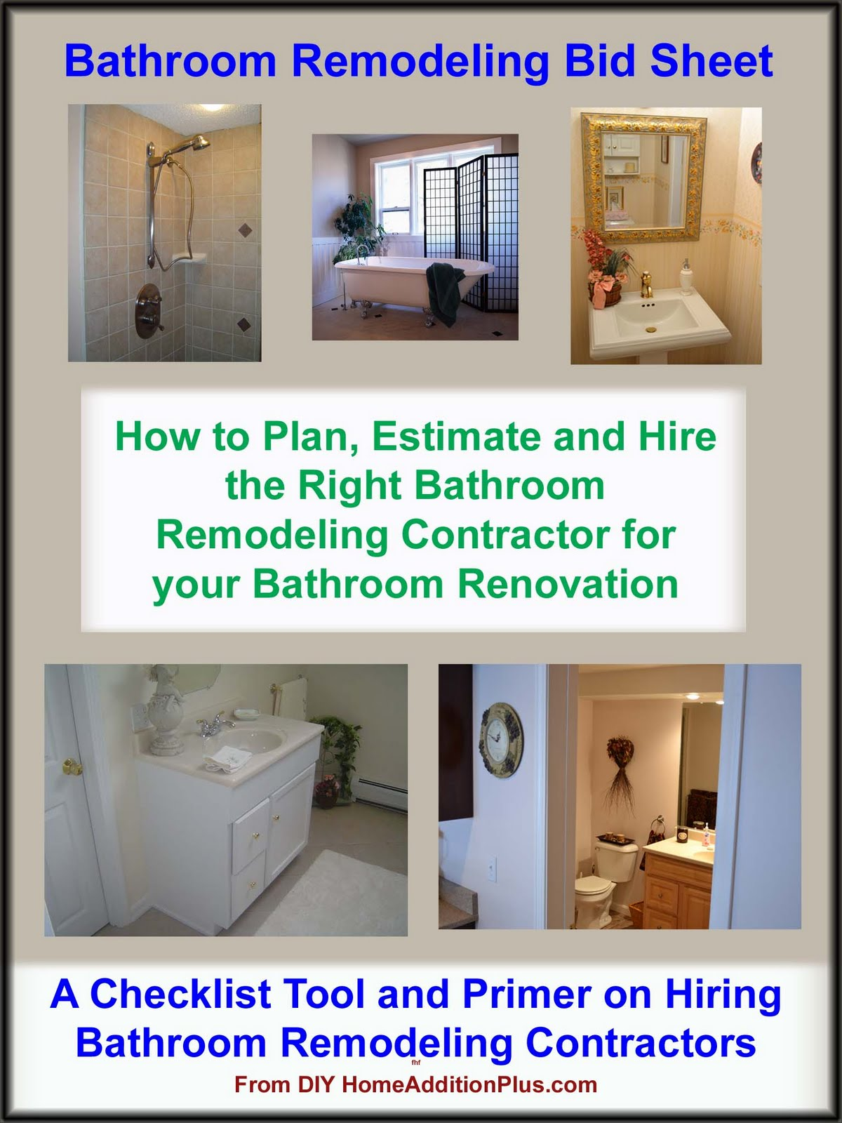 Home addition bathroom remodeling guide home for Homeowner selection sheet