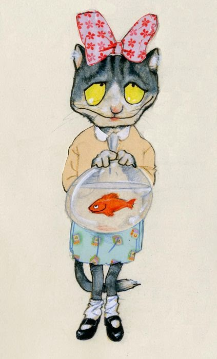 illustration by Robert Wagt of a cute little cat girl with her new goldfish