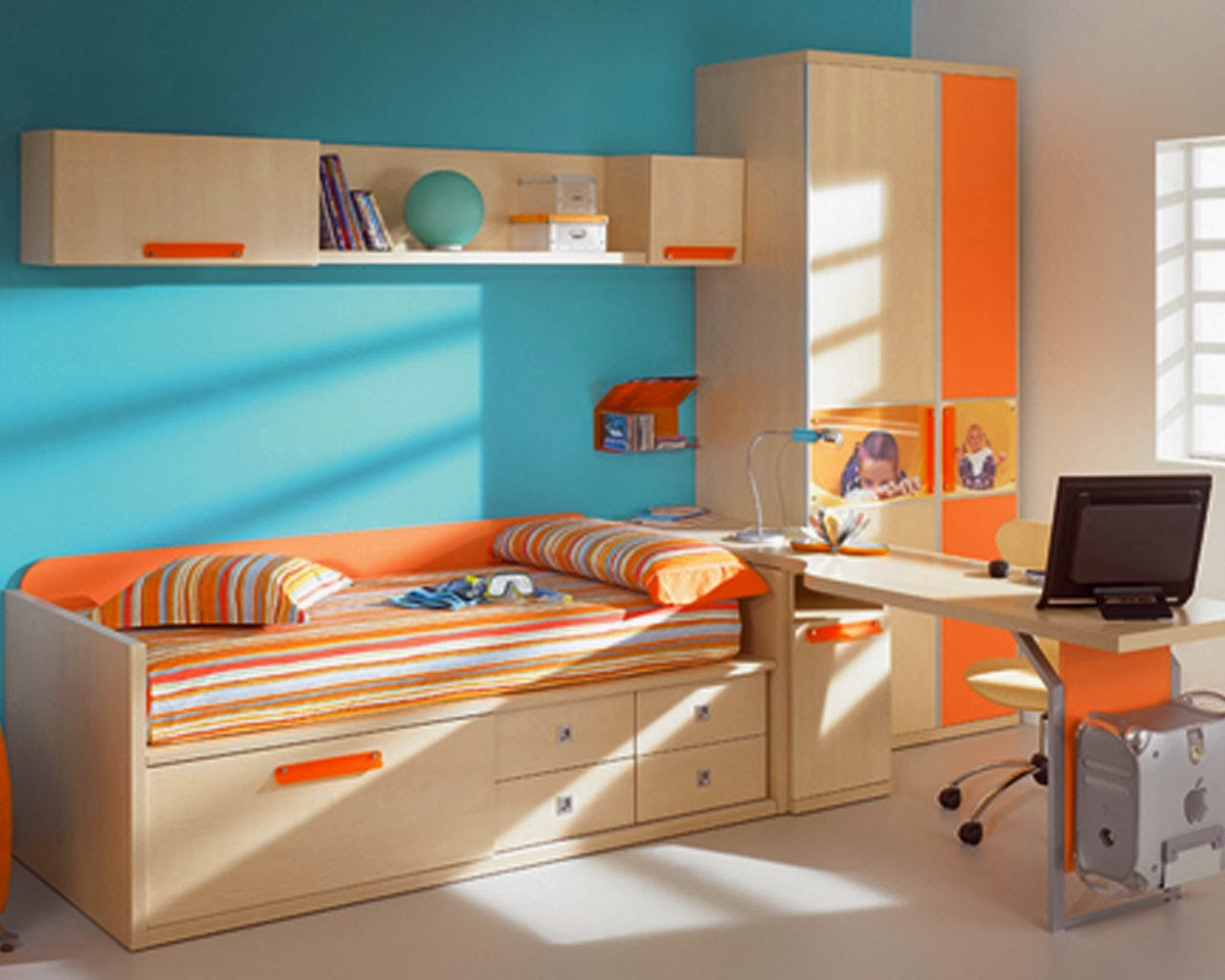 Creative Colorful Interior Kids Room Design with Storage Space