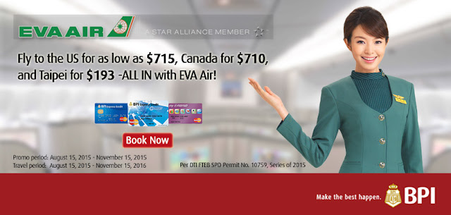 EVA AIR Fly to the US as low as $715 using BPI Credit Card