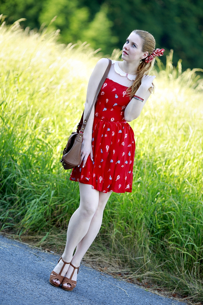 balloon printed dress Sheinside, czech fashion blogger, suede shoes Pimkie