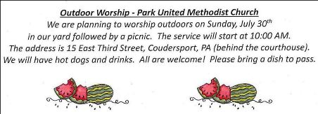 7-30 Park UM Church Outside Worship