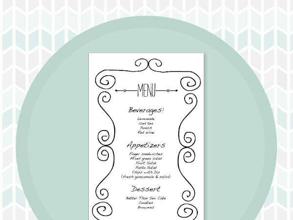 Free Bridal Shower Printable Menu Card