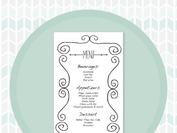 Free Bridal Shower Printable Menu Card