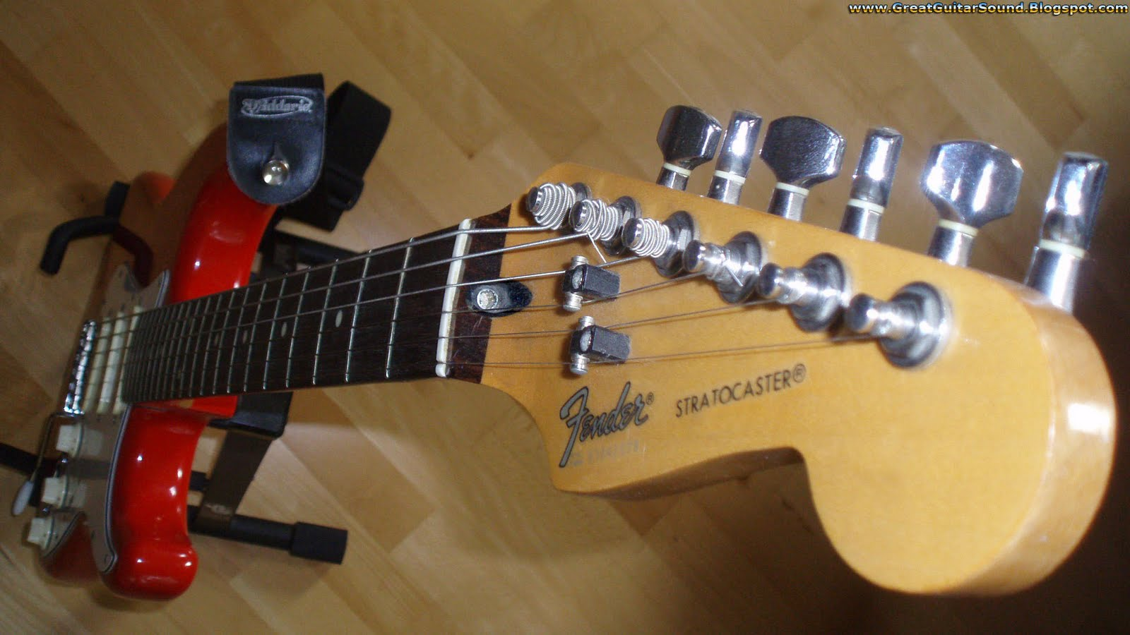 Red White Fender Stratocaster Electric Guitar Headstock Wallpaper 1920x1080