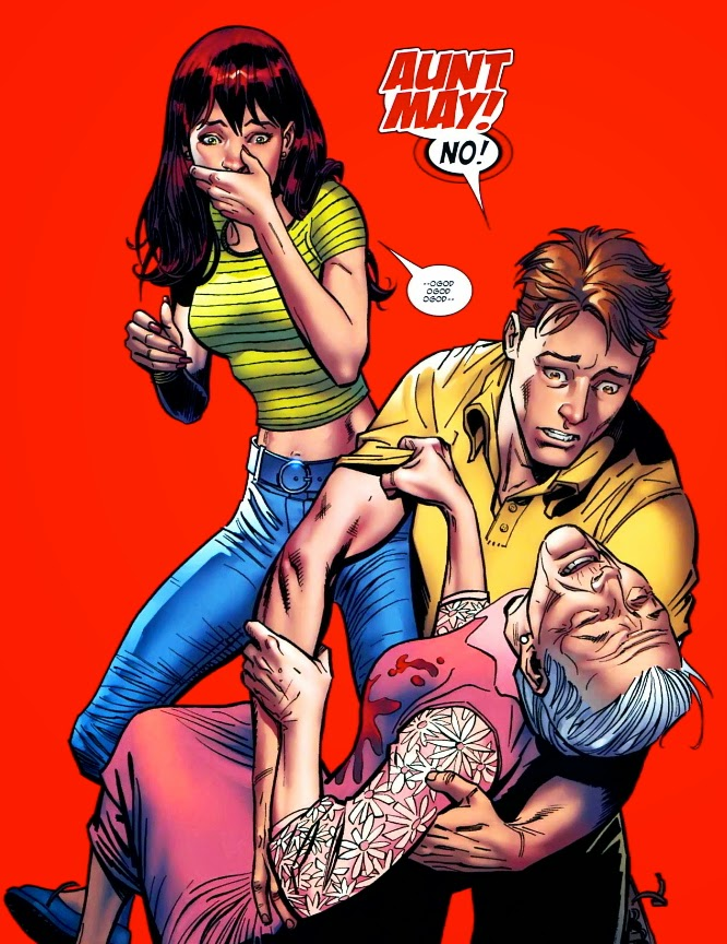 original art of Peter Parker, Aunt May and Mary Jane