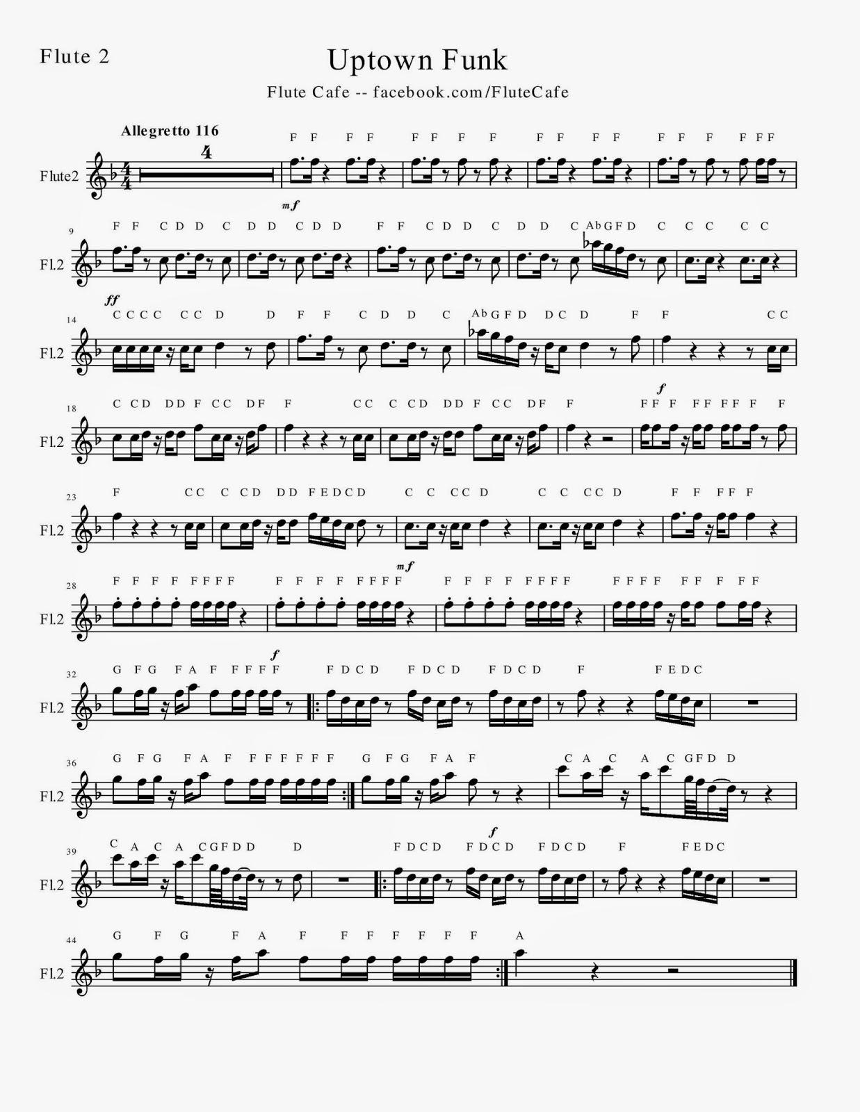 Flute cafe uptown funk flute sheet music