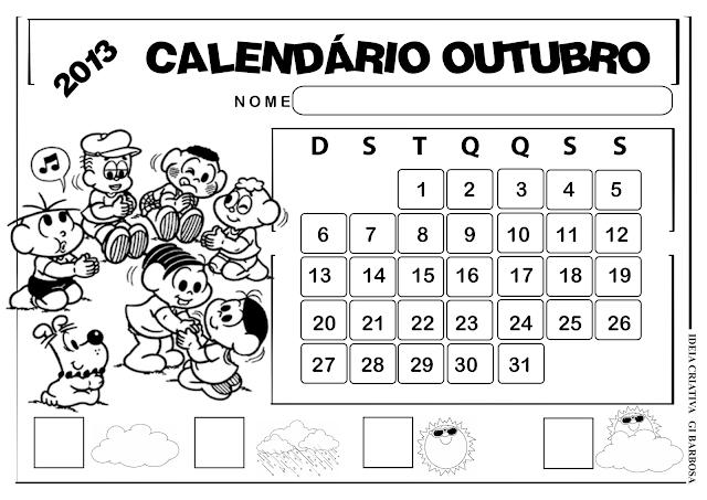 Calendário Paisagem Turma da Mônica Outubro
