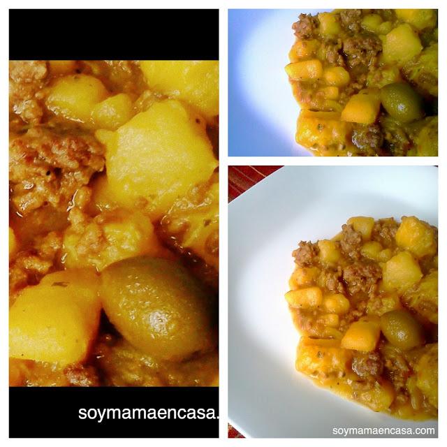 receta carne molida con plátano maduro y coco