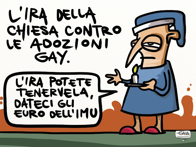 lira ira soldi vaticano vignetta satirica gavavenezia gava gay sentenza imu