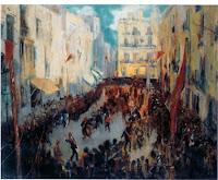 JOAQUIM MIR Las comparsas; Plaça de les Cols, Vilanova c. 1926