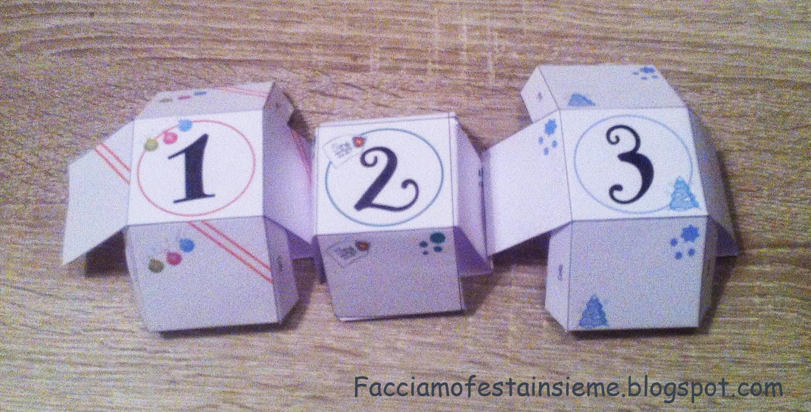Calendario dell'avvento con scatole di carta da stampare