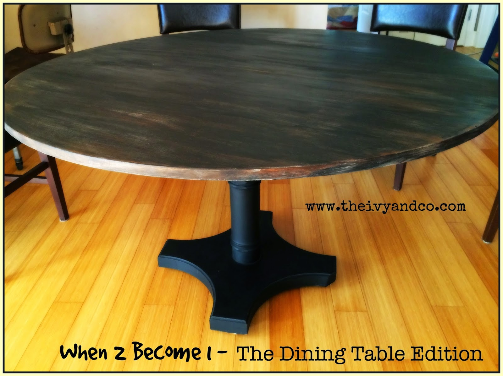 Black Chalk & Milk Paint Dining Table, Dream Table, Wood Dining Table, Table Conversion, Kauai Habitat for Humanity, Kauai Ross Dress for Less, Painting Your Kitchen Table