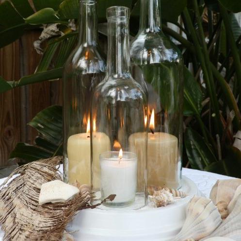 Centros de mesa con botellas de vino i - Botellas con velas ...