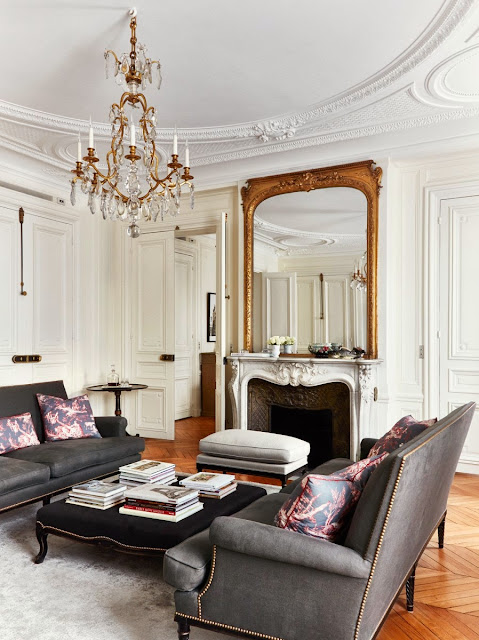Paris pied-a-terre with decorative wall and ceiling moldings