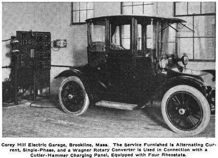 Photo of electric car being charged at Corey Hill Garage, 1915
