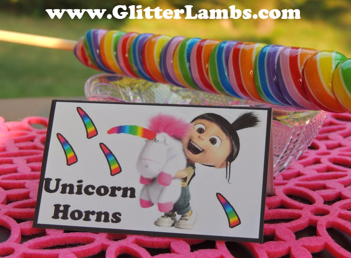 Glitter Lambs DIY Despicable Me Birthday Party Food Card Label Ideas For Kids