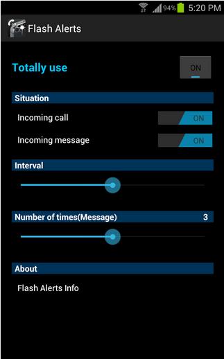 Aplicación que hace destellear el flash de nuestro dispositivo cuando recibes una llamada.