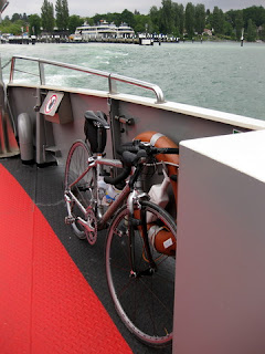 Bike tucked into place on the ferry from Konstanz to Meersburg, Germany