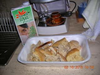 pappa col pomodoro al latte di soia--- filetti di pangasio con panatura di patatine e cracker a