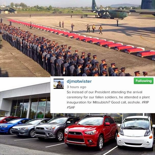 Mo Twister lambasts PNoy for attending a car plant inauguration instead of attending the arrival ceremony of 44 fallen PNP-SAF members