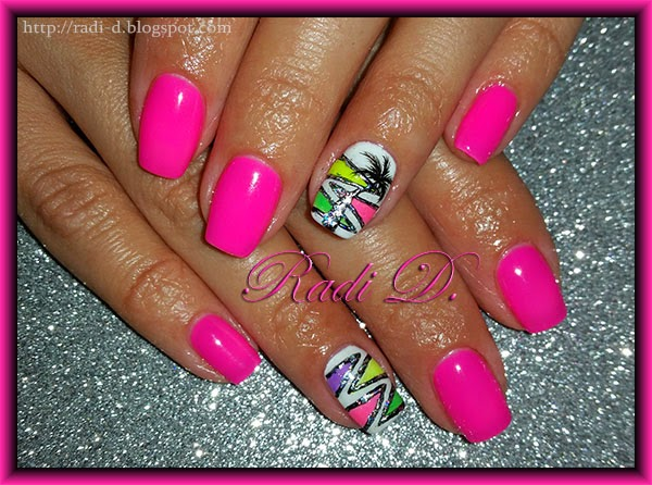 It`s all about nails: Pink neon gel polish with foil ornaments