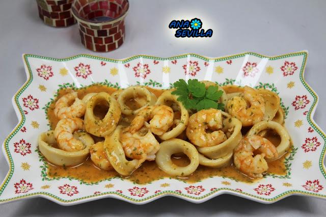 Calamares en salsa de langostinos Ana Sevilla cocina tradicional