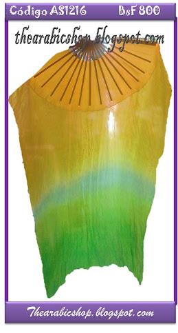 Abanicos de Seda Amarillo con Verde Manzana