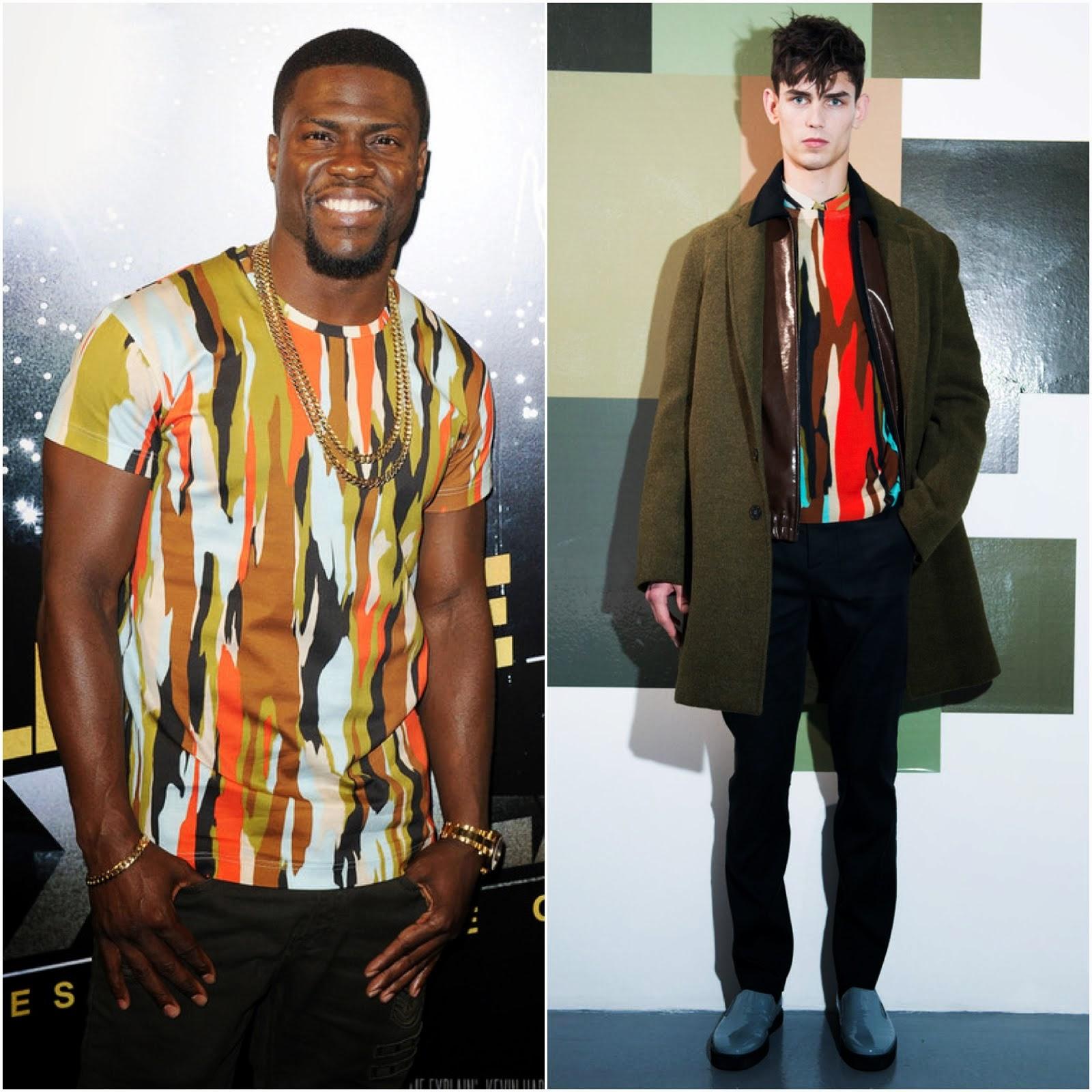 00O00 Menswear Blog Kevin Hart's Jonathan Saunders Pollock print t-shirt - 'Let Me Explain' London premiere