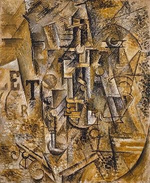 Pablo Picasso - nature morte avec une bouteille de rhum,1911