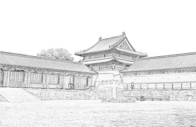 sketch of a Chinese style architecture with courtyard
