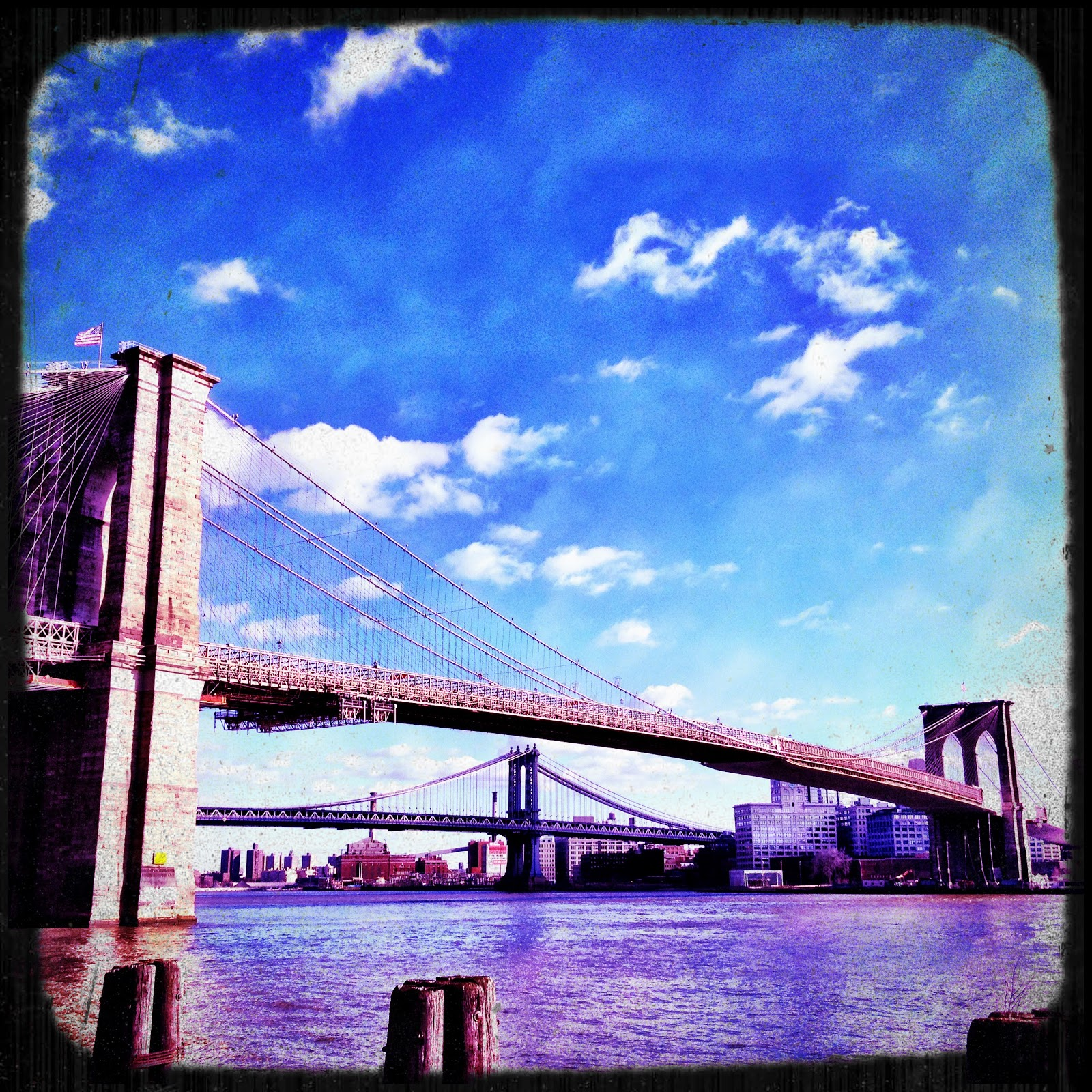 View of the Brooklyn Bridge, New York. Taken using Camera+