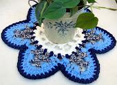 "Toalhinha ""Flor Branca-Azul"""