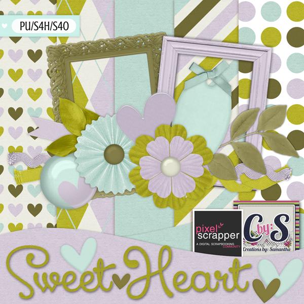 """★ PixelScrapper Mini Kit Challenge: """"Sweet Heart"""""""